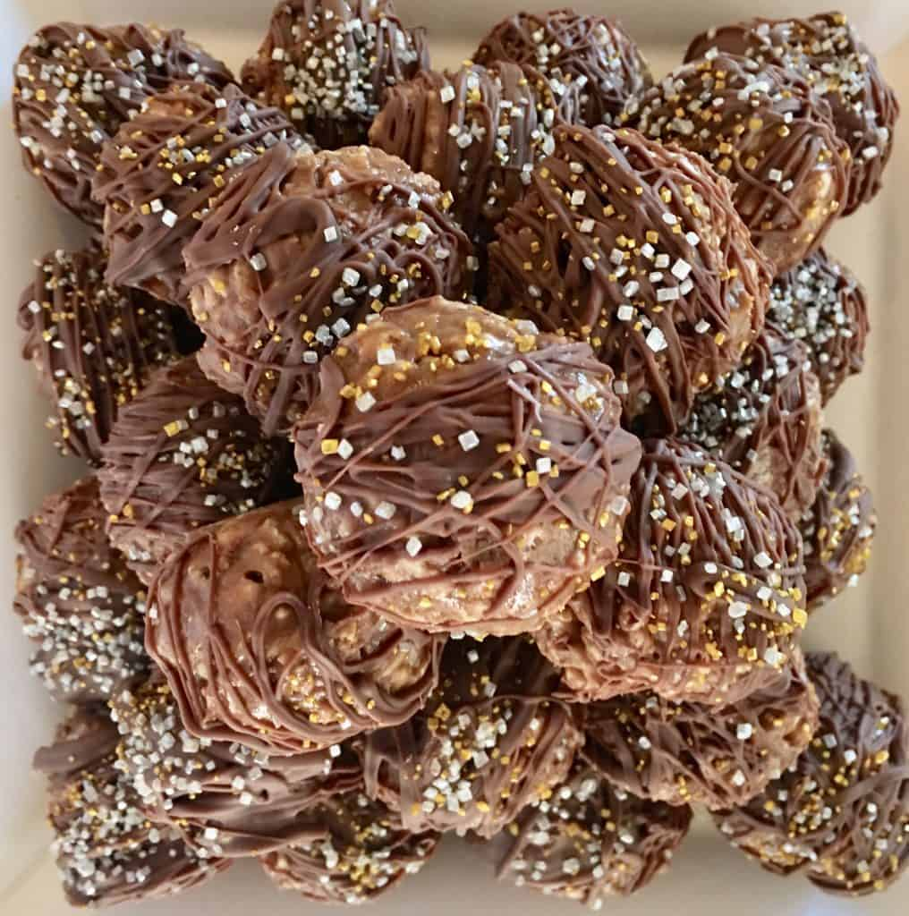 crispy nutella truffles stacked up in a pyramid shape