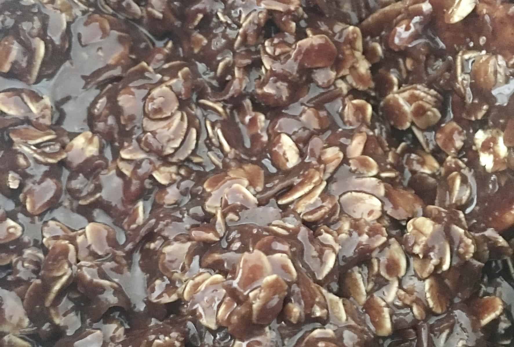 close up of the batter for No Bake Chocolate Coconut Cookies.