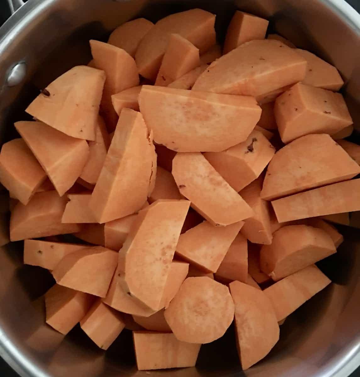 sweet potatoes cut in a bowl