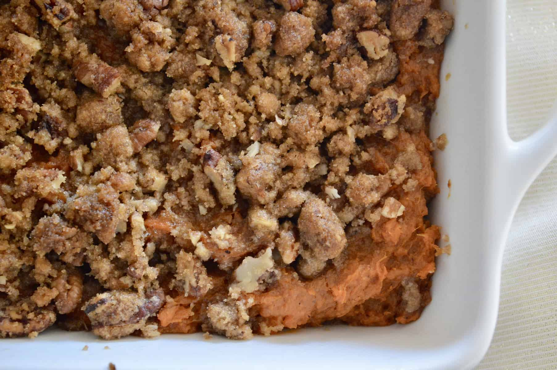 sweet potato casserole with pecan brown sugar crumble