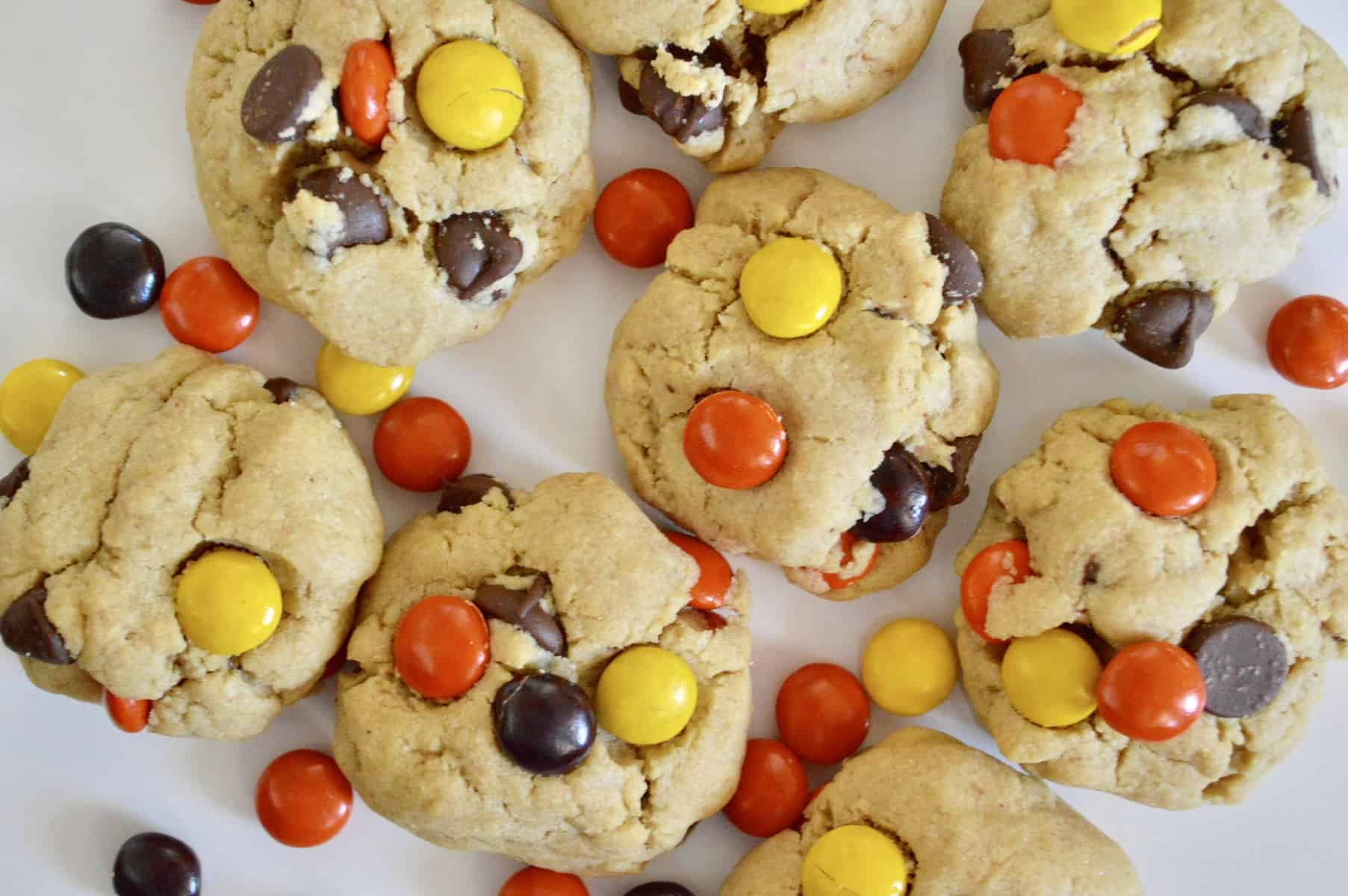 reeses pieces peanut butter chocolate chip cookies.
