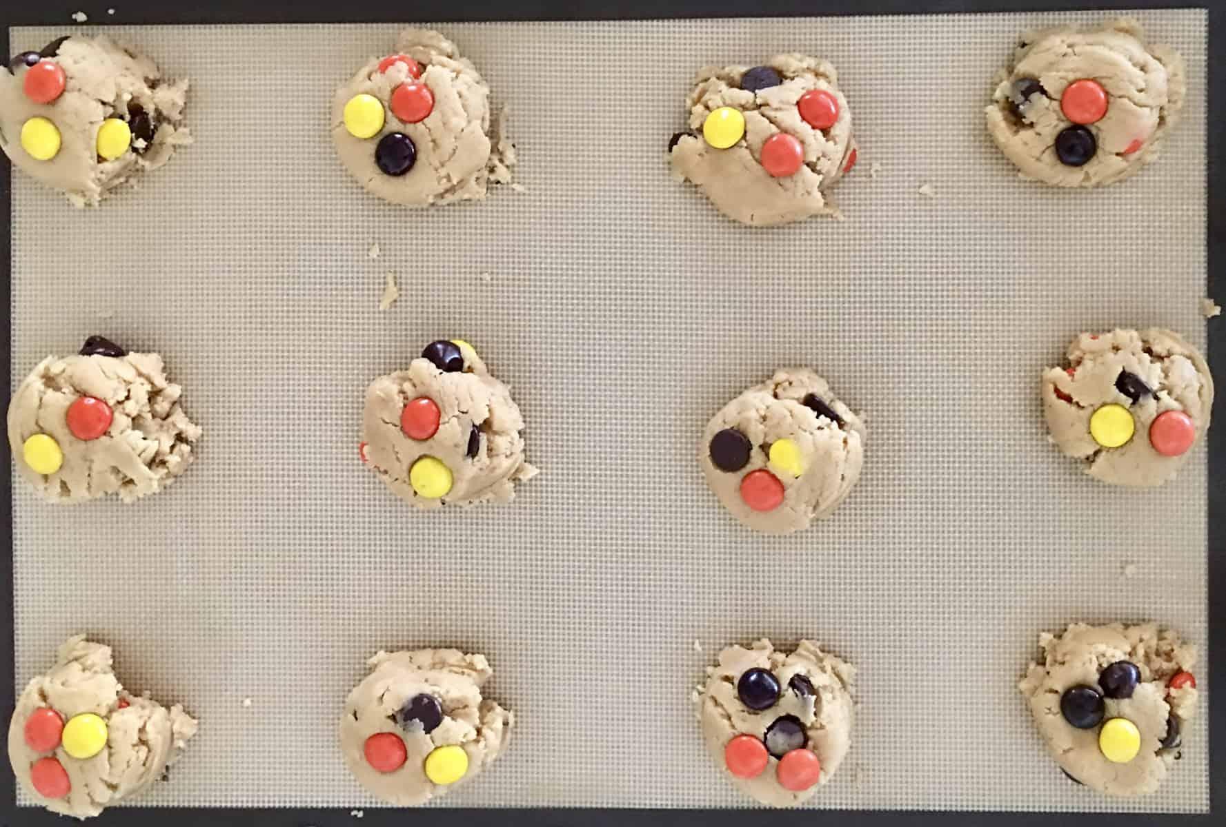 cookie batter on a baking sheet.