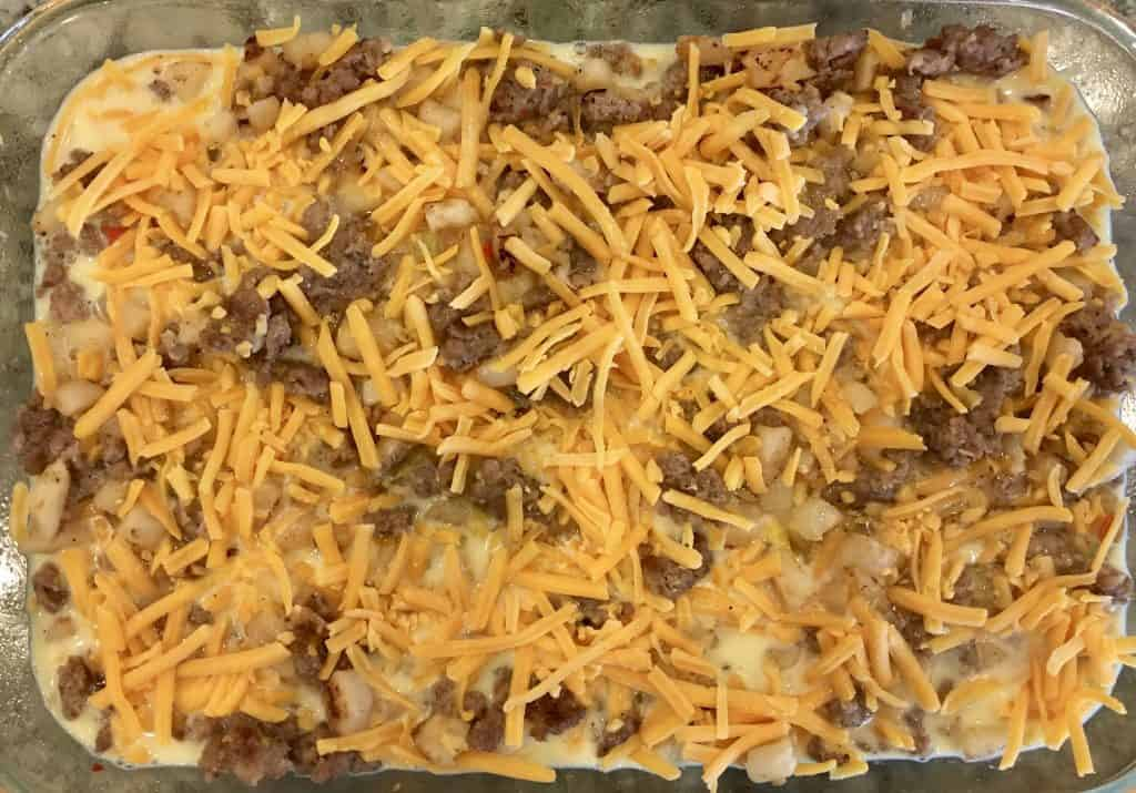 add the cheese overtop of the bake.