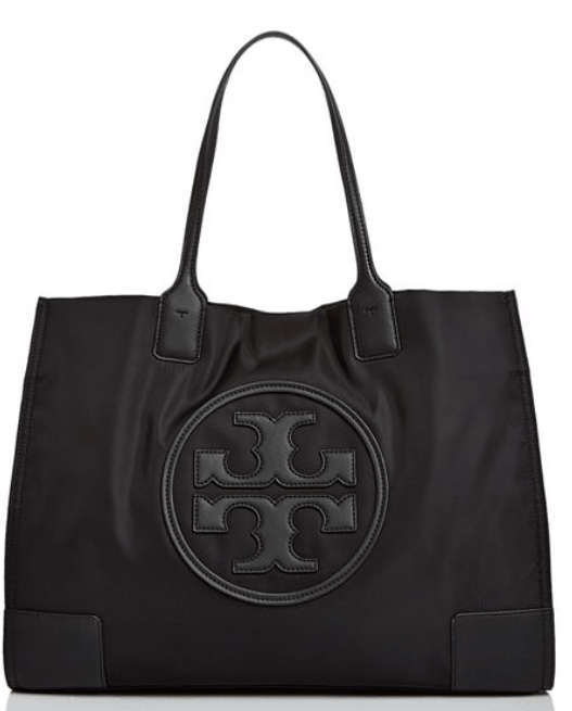 fit mom gift guide tory burch Ella nylon leather tote Bloomingdales