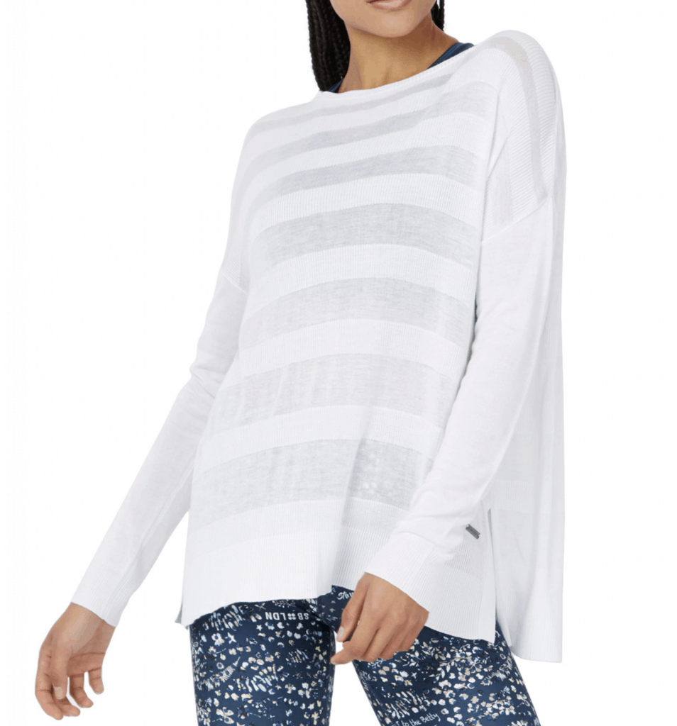 Sweaty Betty Dreamscape Split Back Sweater in white is a great fit mom gift guide