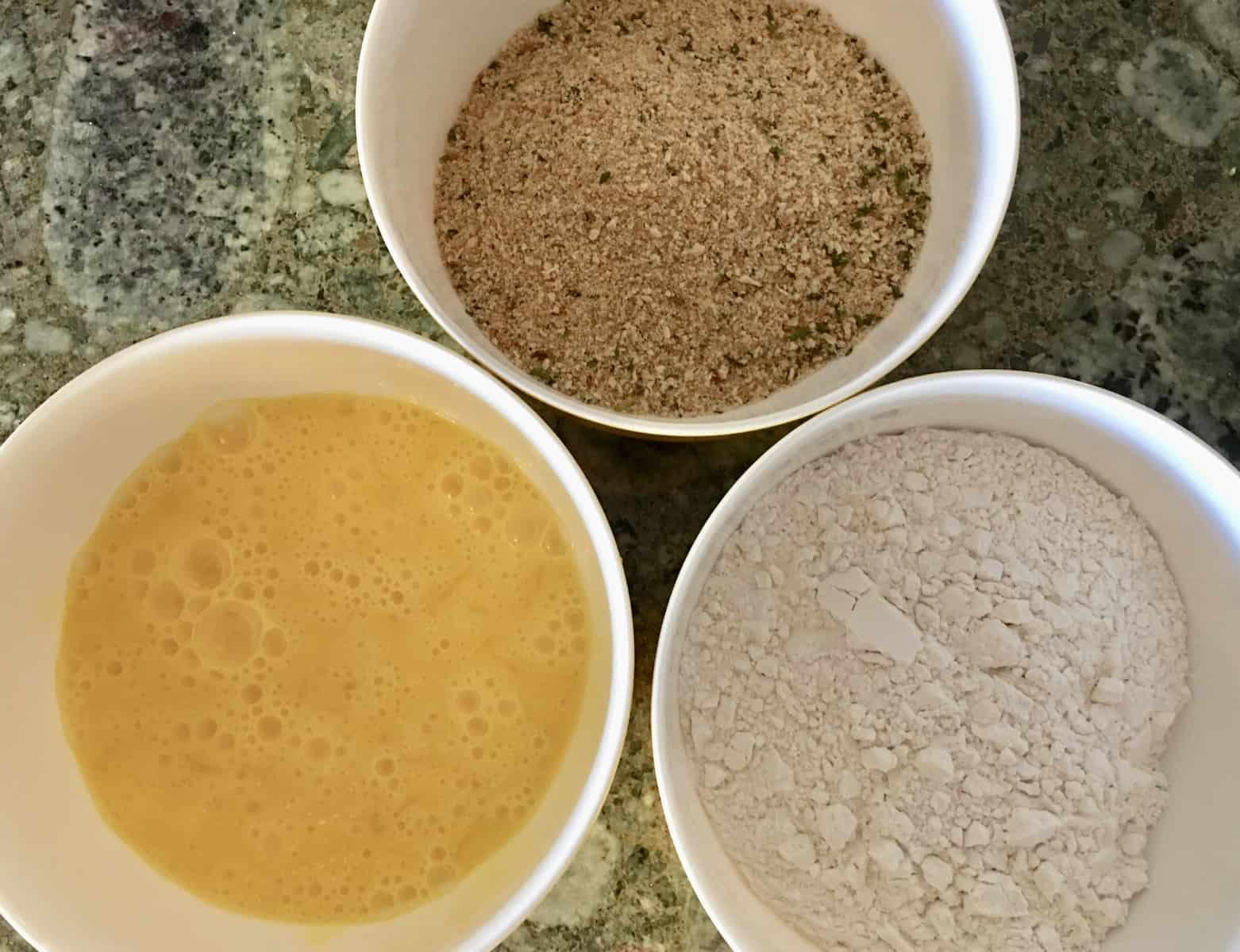 dredging mixture in three bowls.