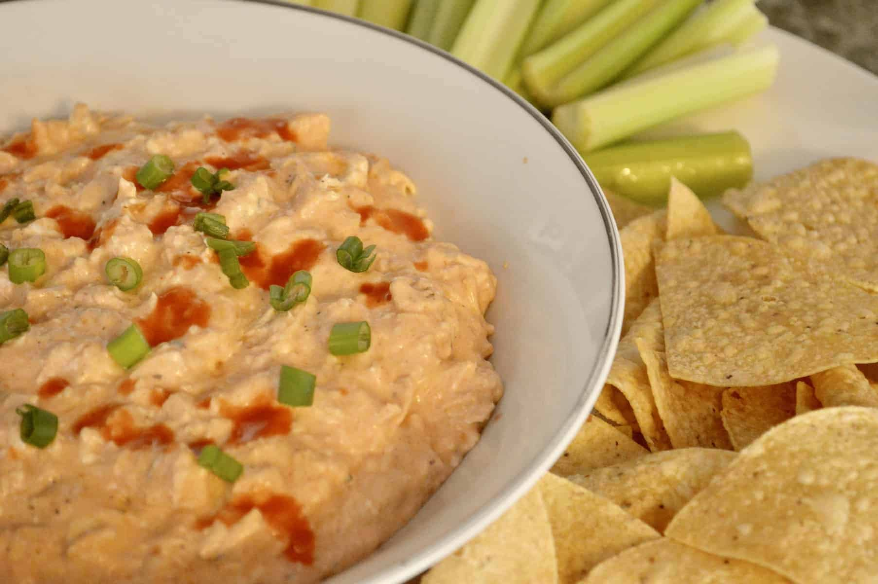 Buffalo Chicken Dip appetizer made in the crock pot with frank's hot sauce