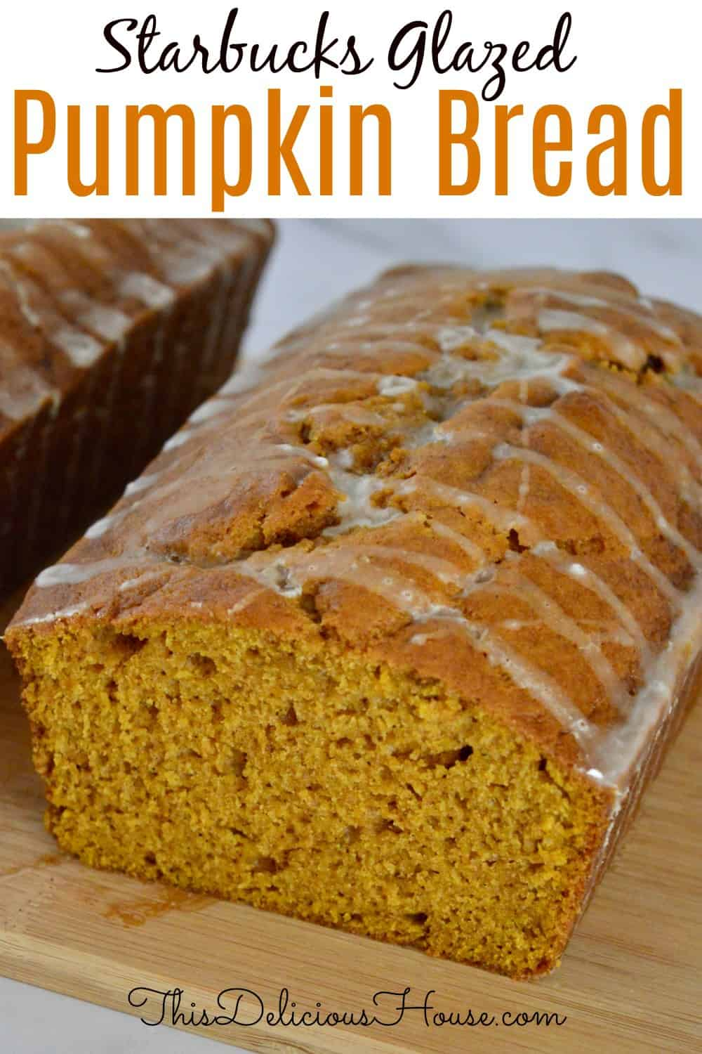 Starbucks glazed pumpkin bread Pinterest pin.