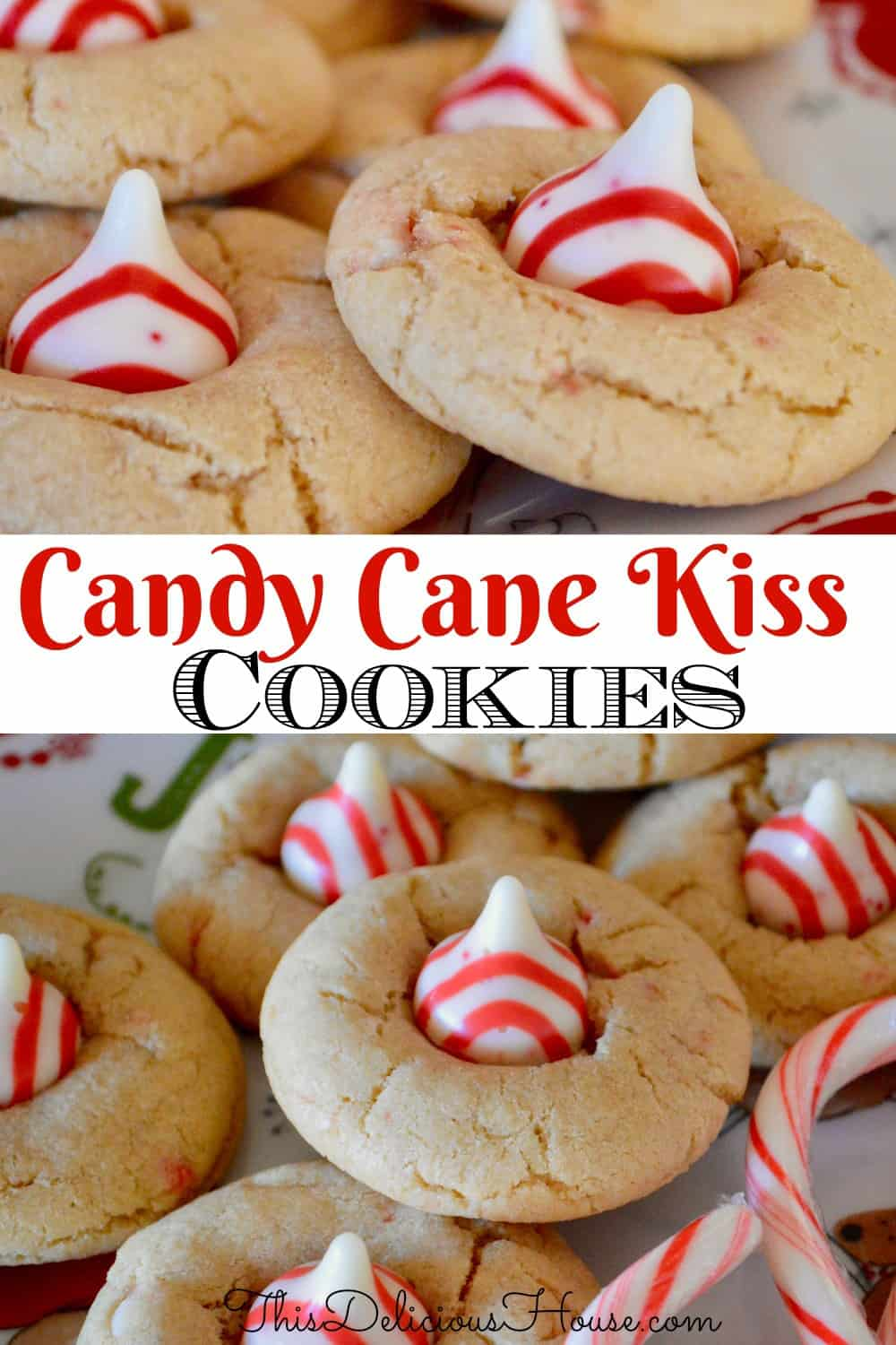 Candy Cane Kiss Cookies Pinterest pin.