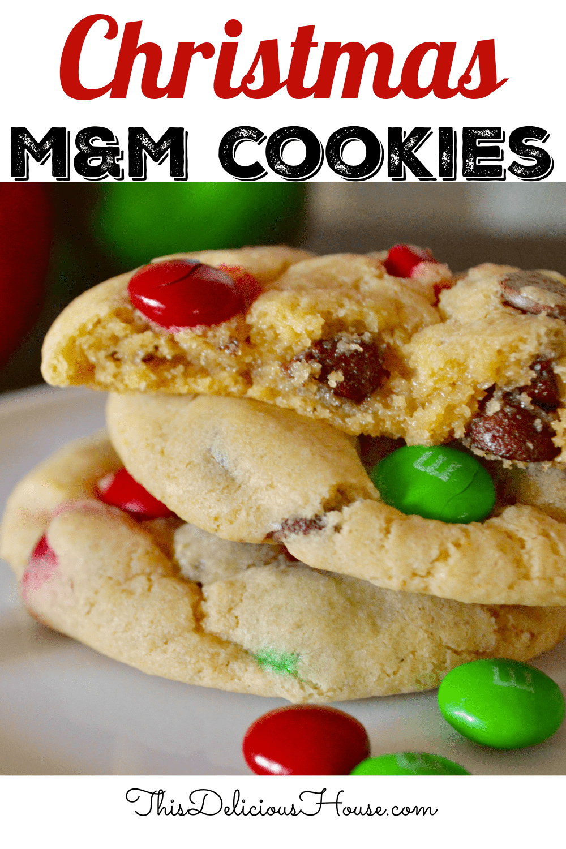 Christmas M&M cookies.