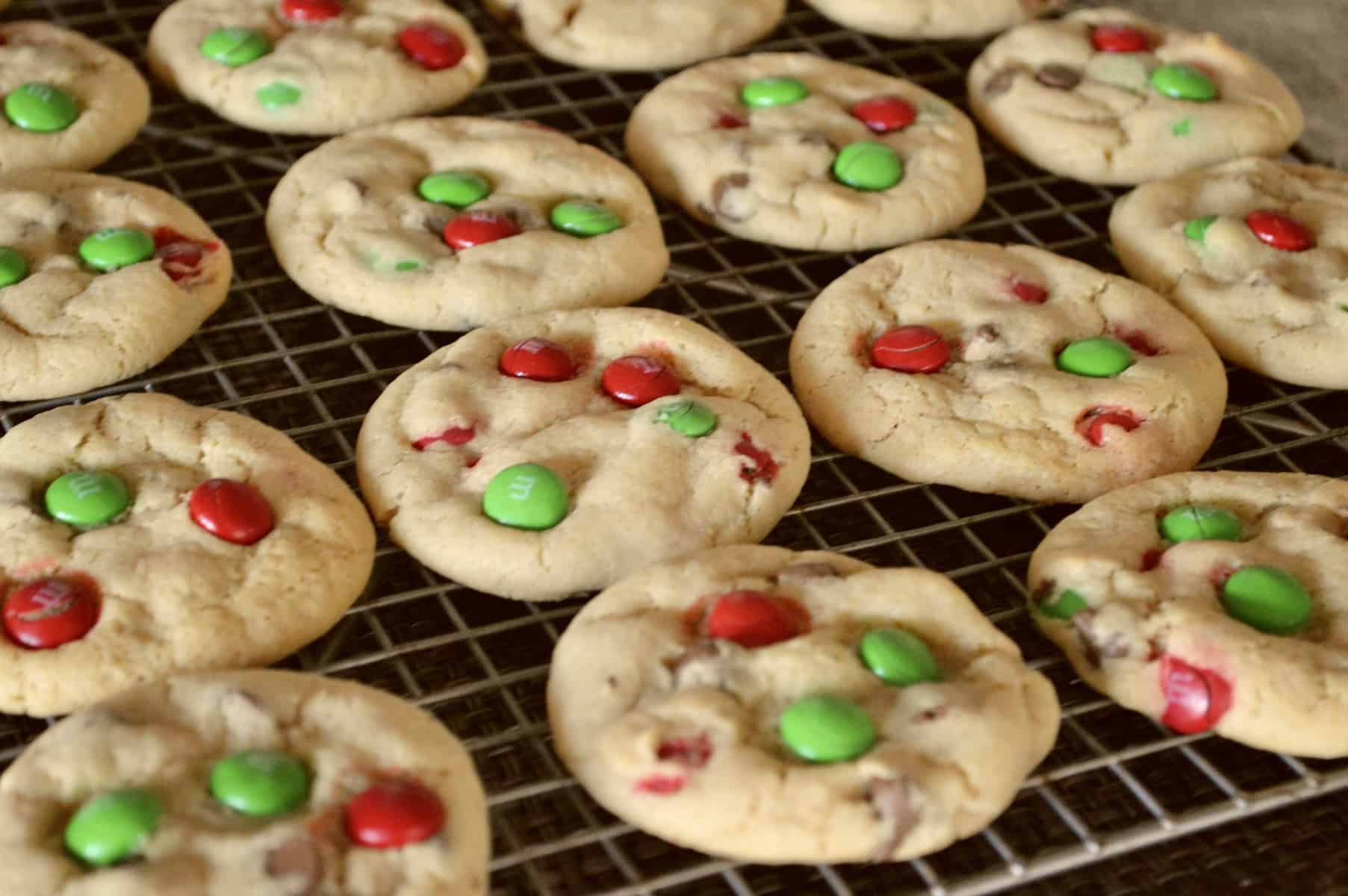Soft Batch Christmas M&M Cookies cooling on a baking rack