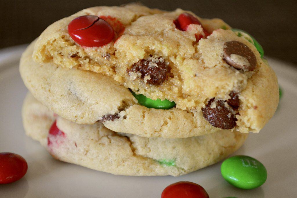 Christmas M&M cookies with red and green M&M's on a white plate
