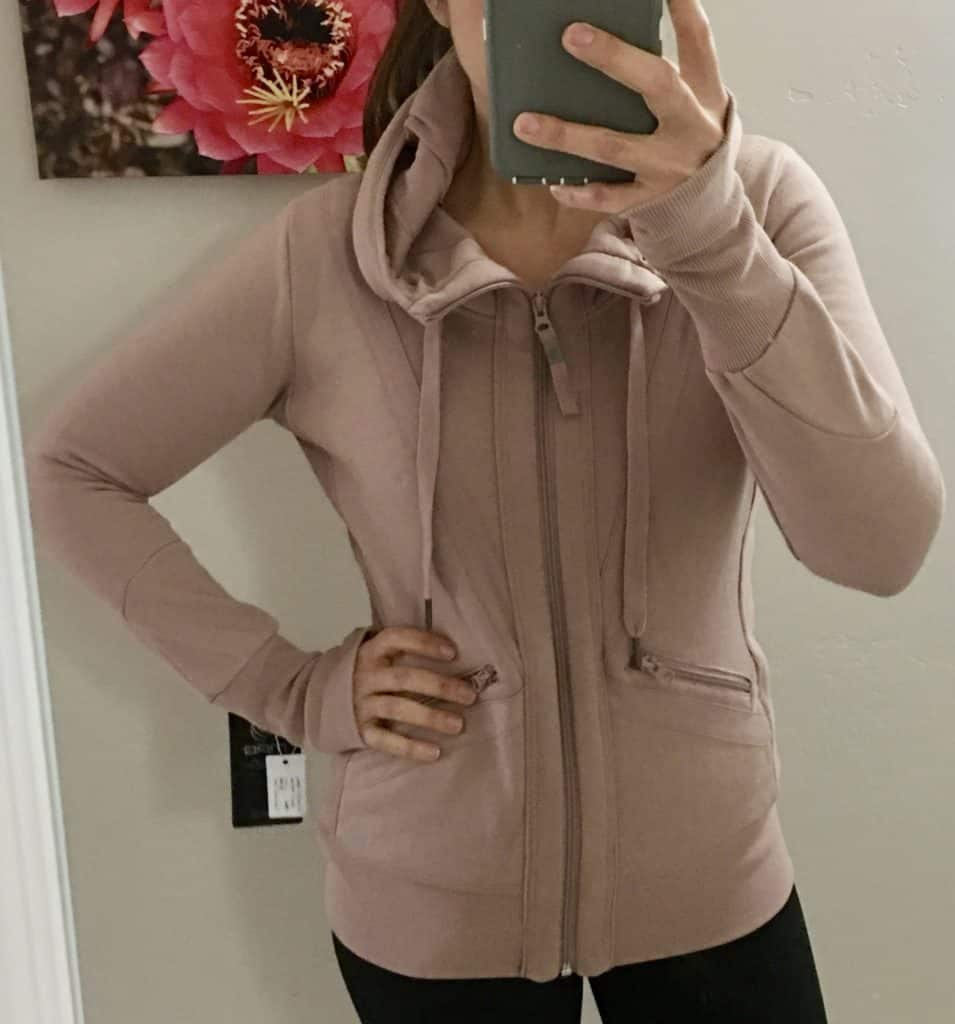 Wantable Fitness Edit - blush colored sweater jacket