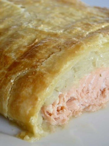 Salmon Wellington wrapped in puff pastry