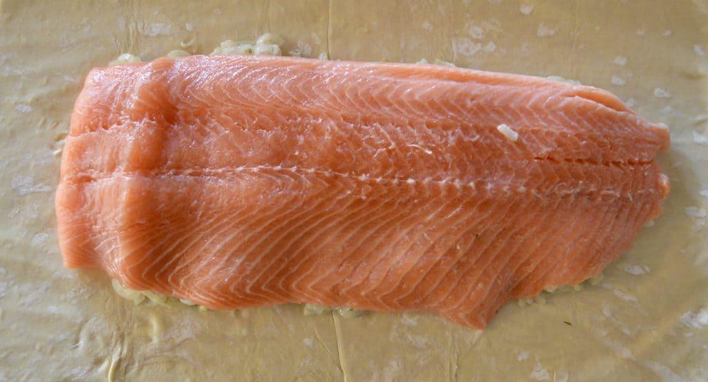 Salmon Wellington on Puff Pastry
