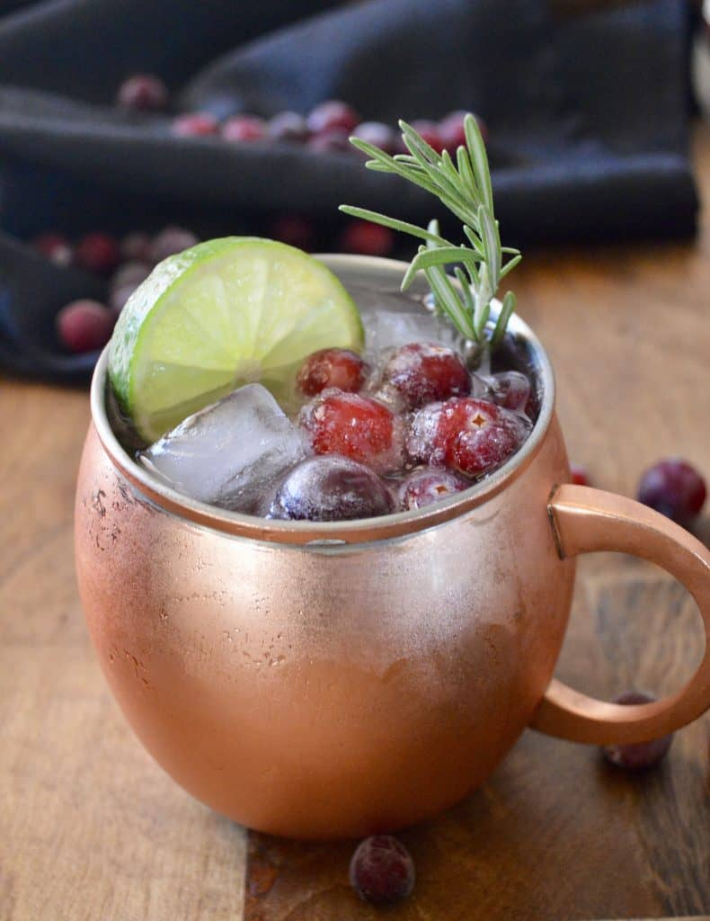 Cranberry Moscow Mules in a copper Moscow Mule mug.