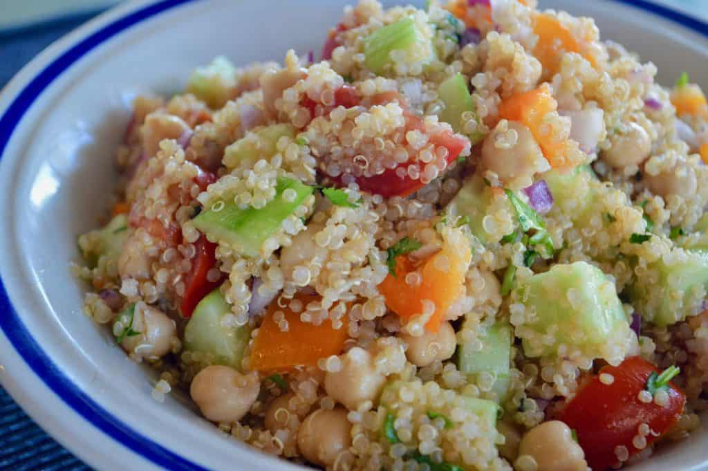 Easy Vegetable Quinoa Salad in a blue bowl