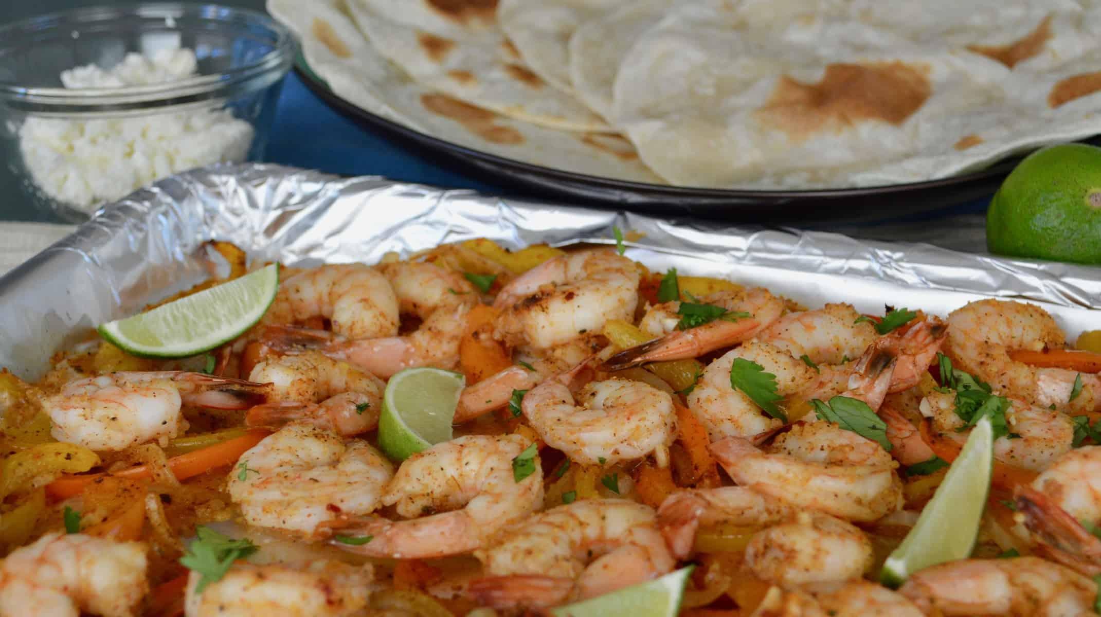 tortillas, cheese, and shrimp