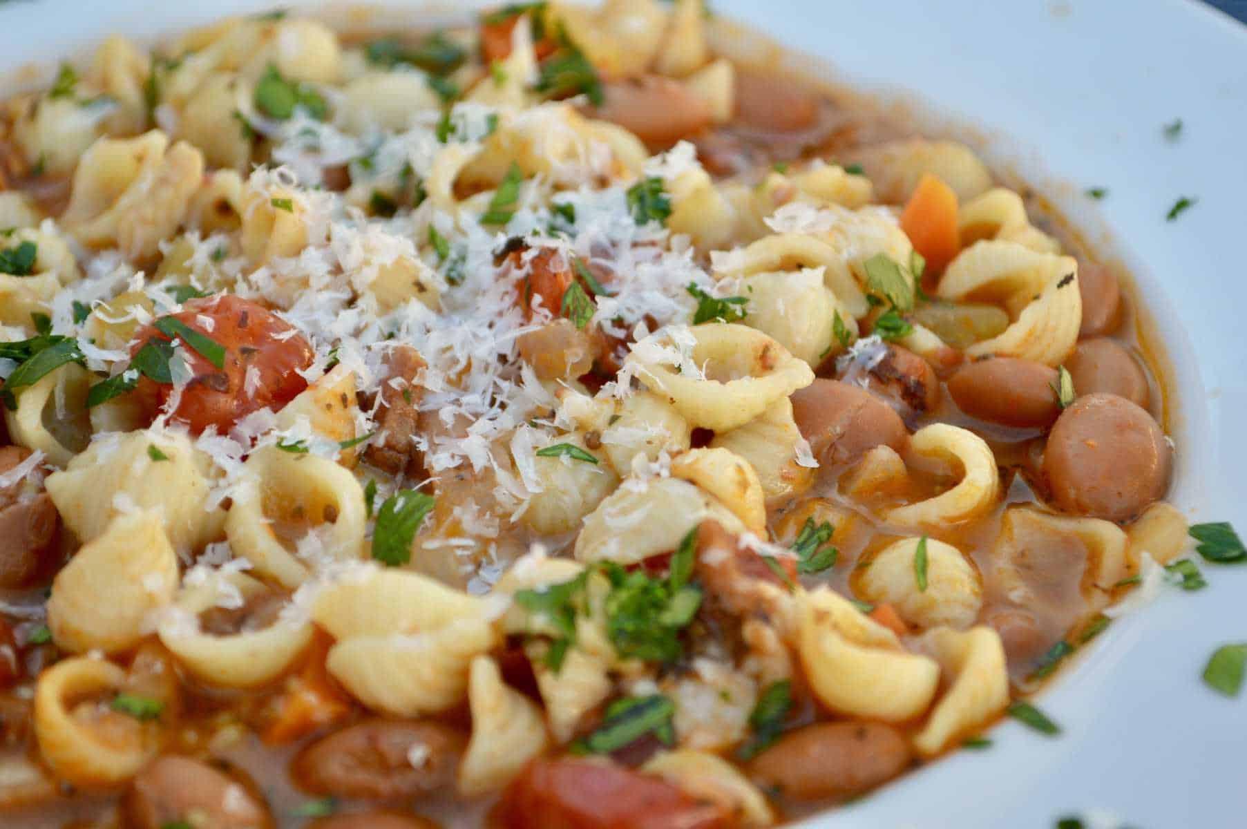 pasta e fagioli soup in a white bowl