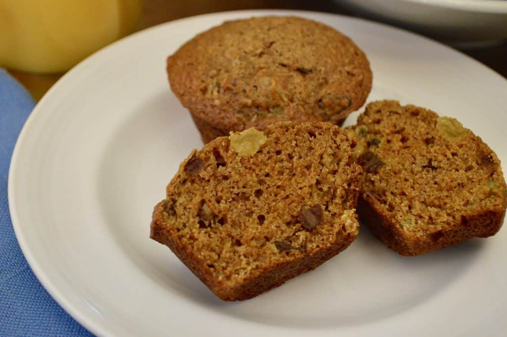 healthy carrot muffins on a plate