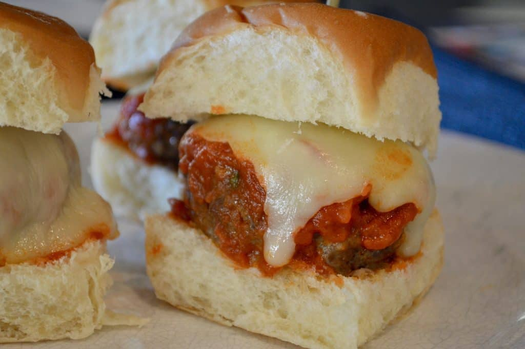 Easy Italian Meatball Slider on a white plate
