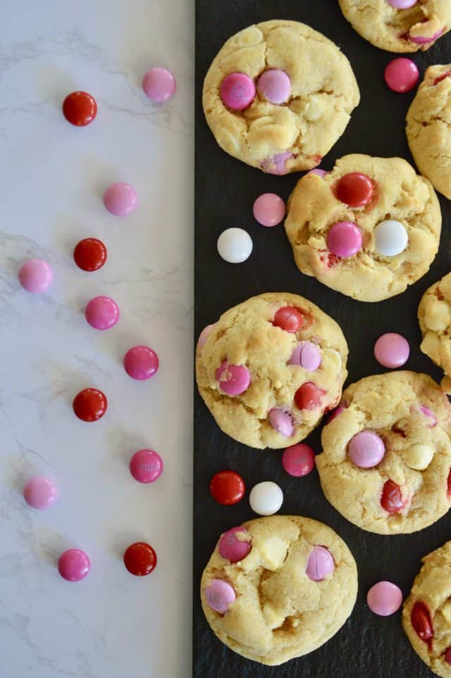 Valentine's Day M&M cookies