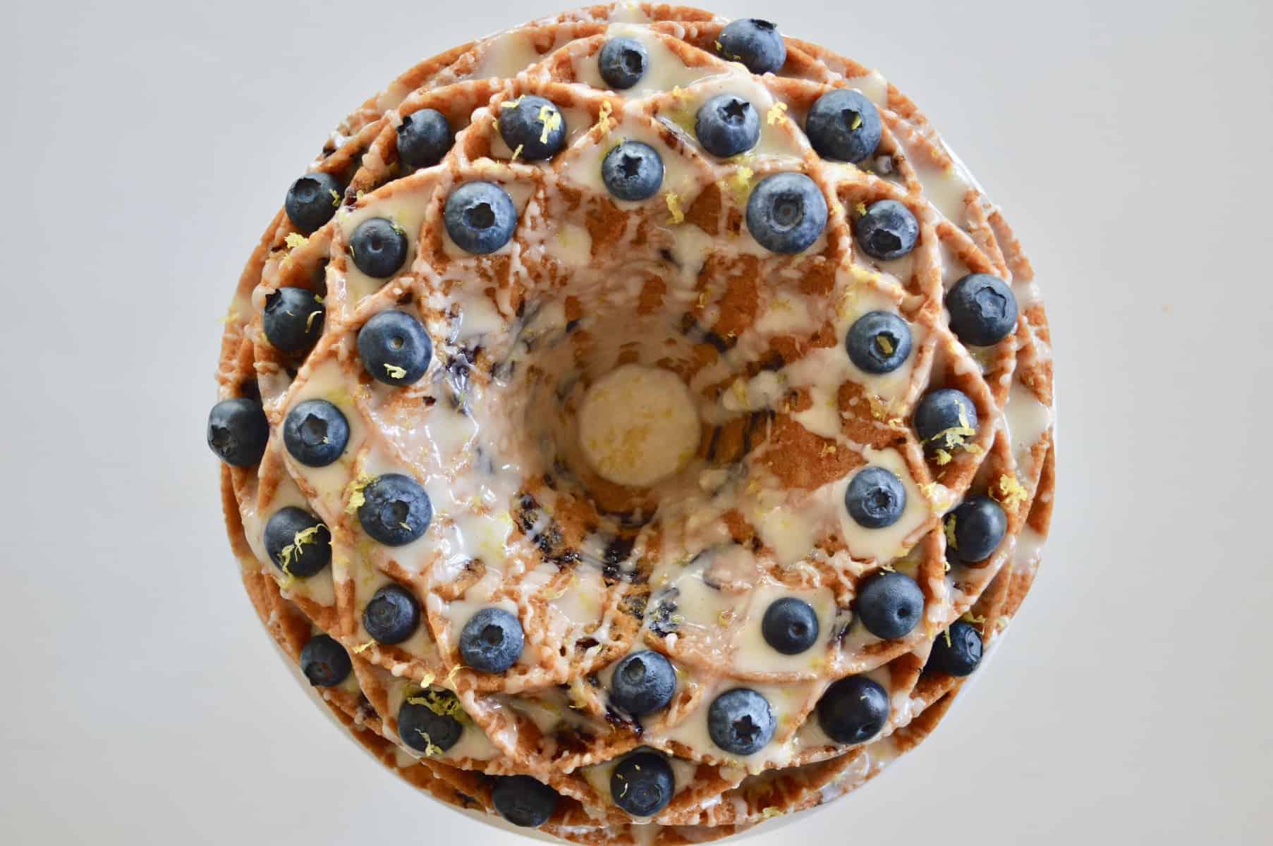 blueberry lemon bundt cake make in a jubilee cake pan
