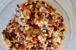 healthy Mexican rice made with brown rice, black beans, and salsa