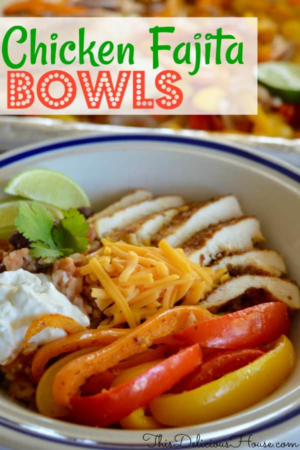 Sheet Pan Chicken Fajita Bowls are so easy to make and make for delicious and healthy meal prep. Don't miss this fun and fast dinner idea. Full of delicious Mexican flavors and just a few ingredients.