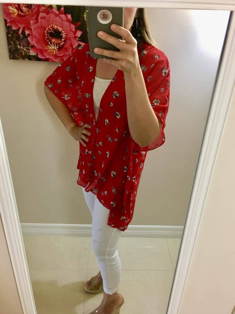 Womens Spring Outfits Red Kimono paired with white jeans
