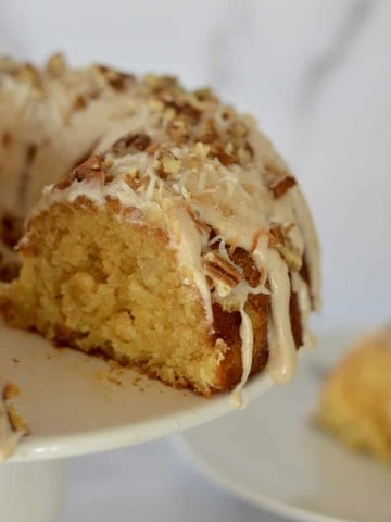 Pineapple Bundt Cake on a white stand