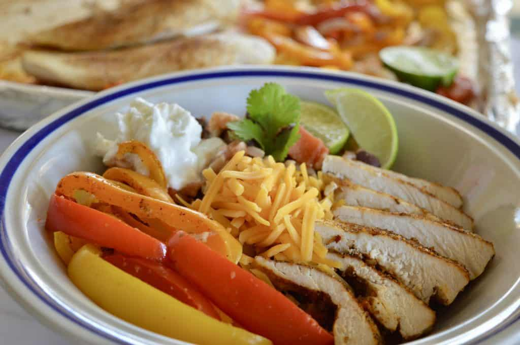 Mexican Chicken Fajita Bowl with sheet pan chicken fajitas.