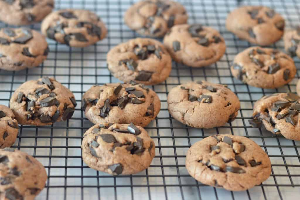 cookies cooling on a baking rack