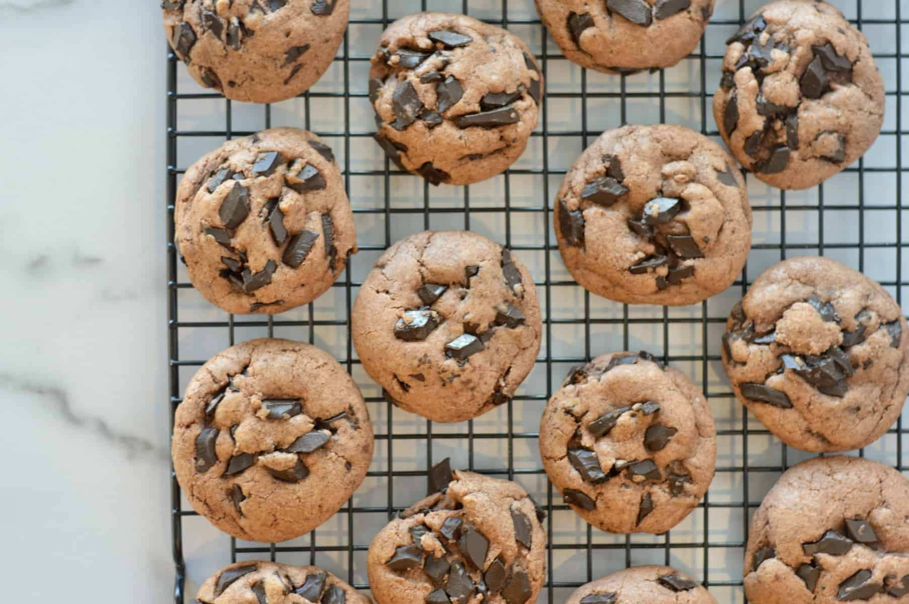 chocolate cookies cooling on a cooling rack