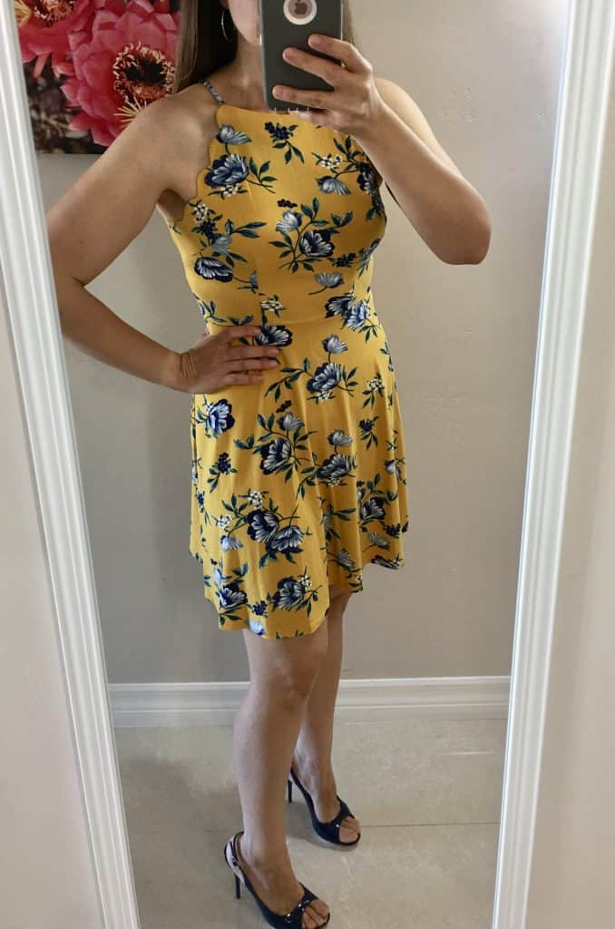 cute summer spring 2019 yellow dress with scalloped detailing and blue flowers