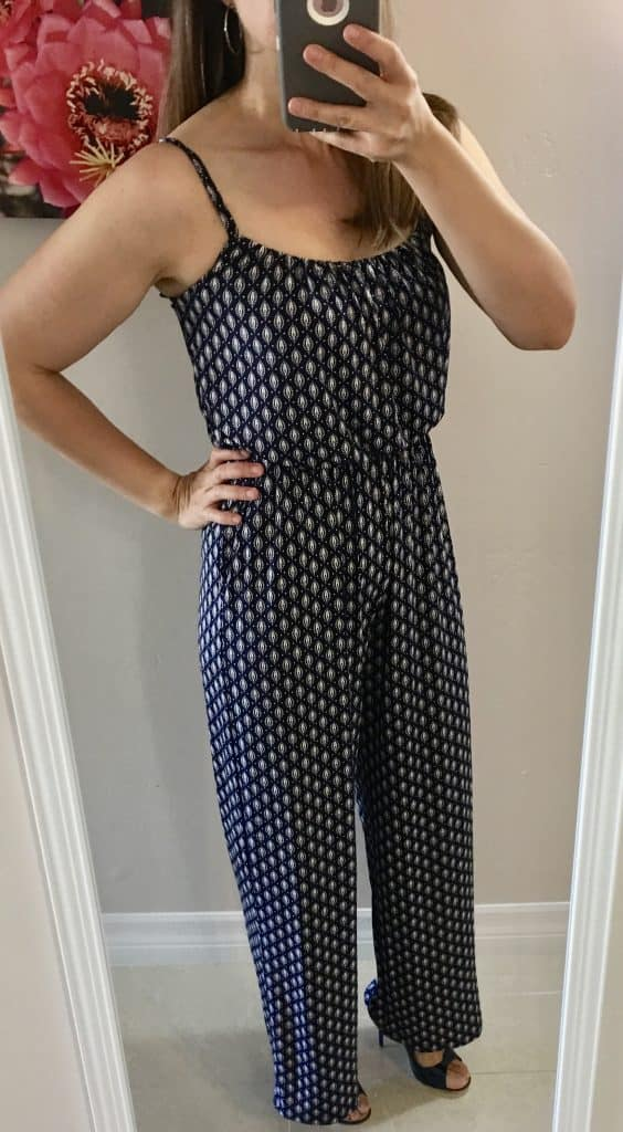 navy blue and white jumpsuit