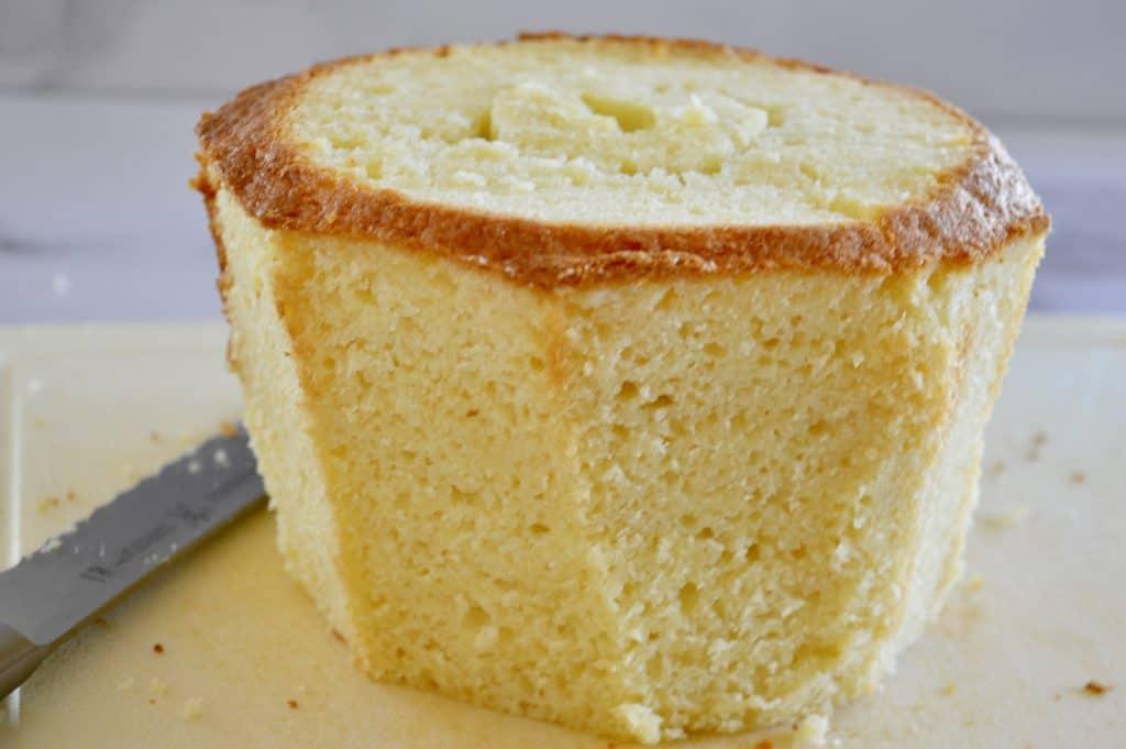 trimmed cupcake cake base