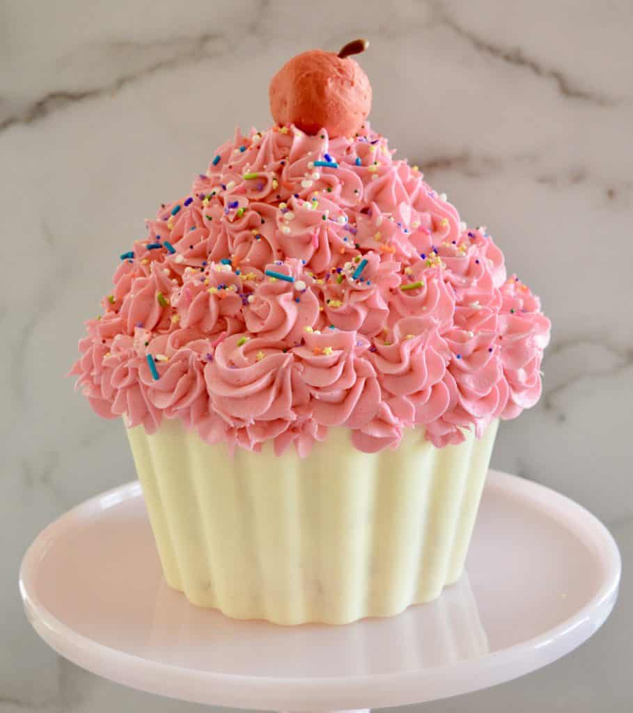 giant cupcake cake on a pink cake pedestal with a red cake truffle cherry on top