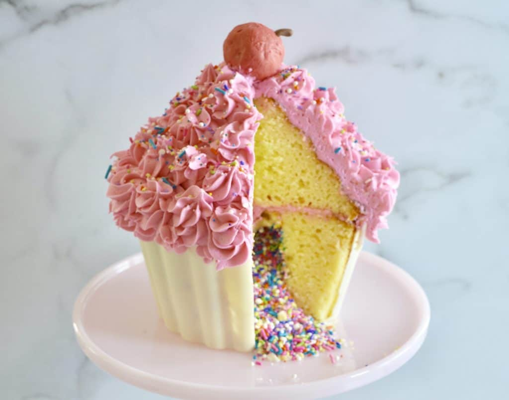 Giant Cupcake Cake Sprinkle Surprise This Delicious House