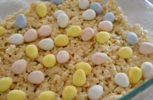 lay the Cadbury mini eggs on top of the Rice Krispies treats