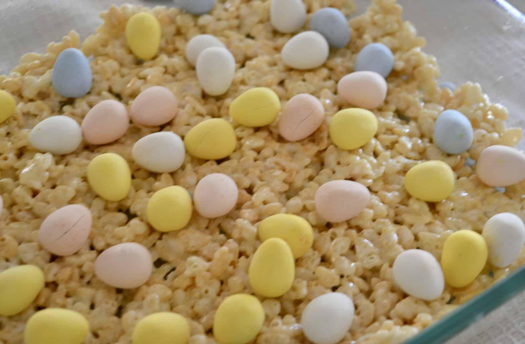 lay the Cadbury mini eggs on top of the treats