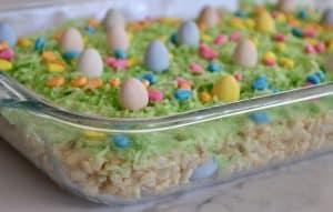 hidden eggs lie below the Rice Krispies