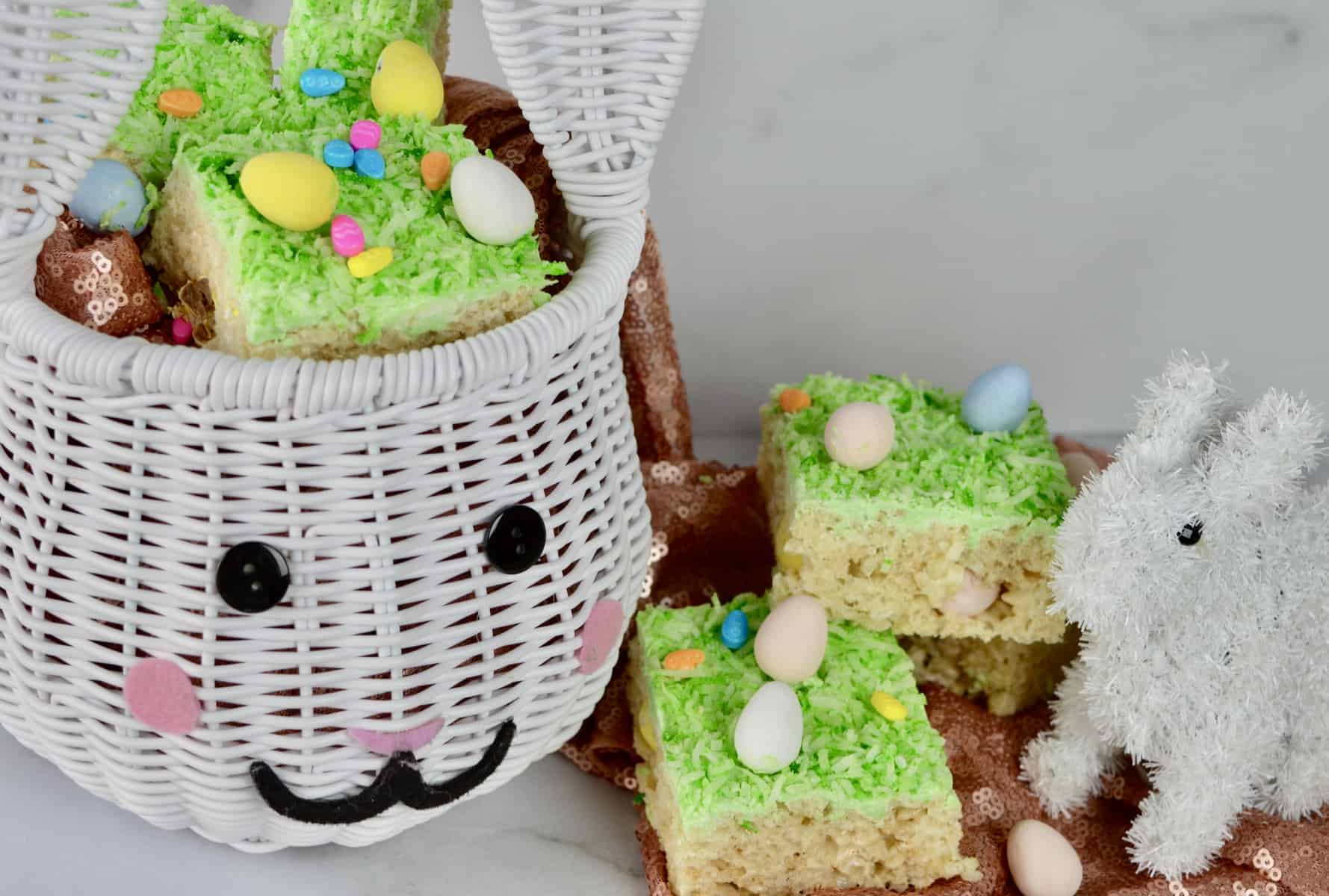 easter basket with treats inside.