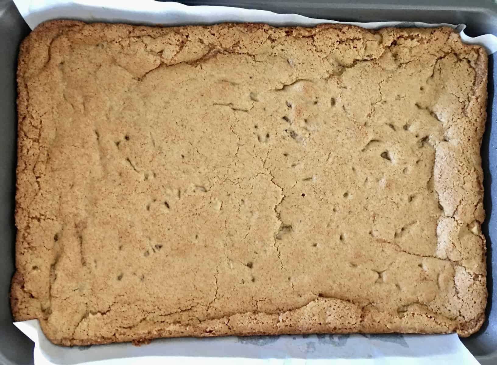 butterscotch blondies in baking pan