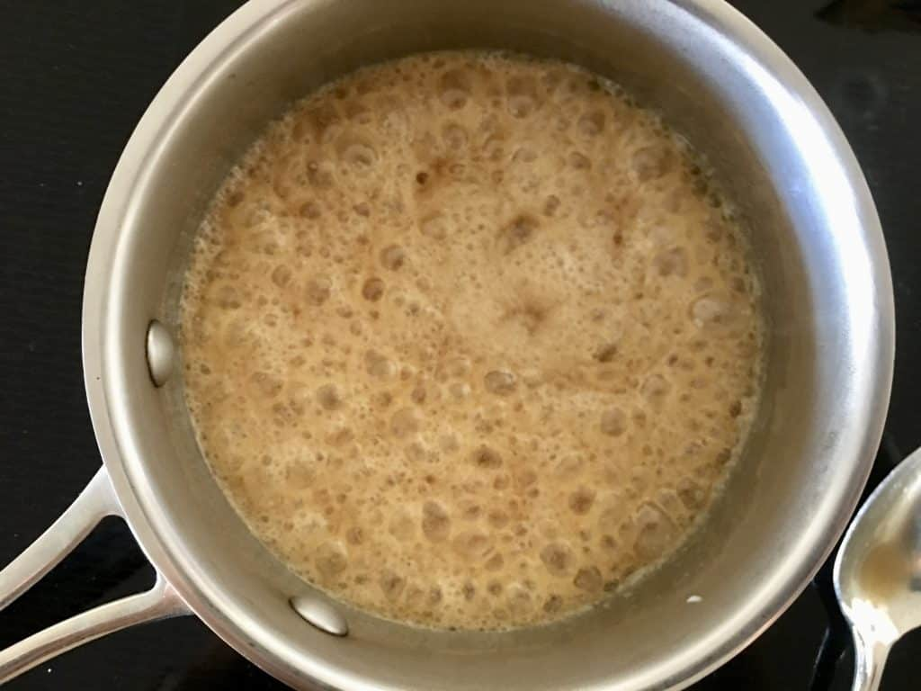 bubbling brown sugar mixture to make brown sugar frosting