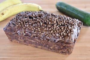 Loaf of chocolate zucchini banana bread n a counter.