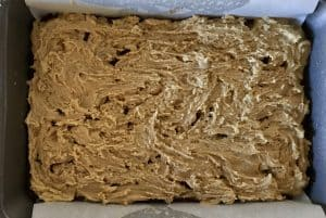 Blondie layer spread over the brownie layer in pan.