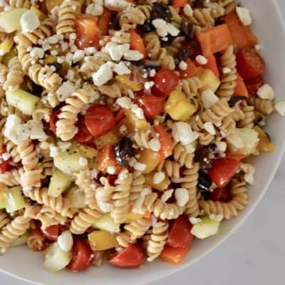 Greek Pasta Salad | Whole Wheat Pasta