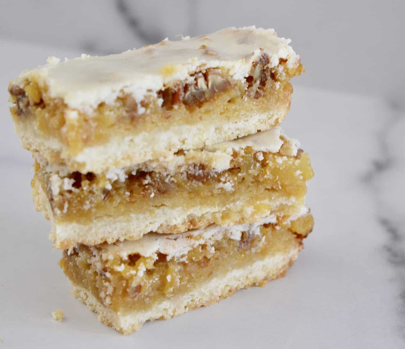 three pineapple bars stacked on top of each other.