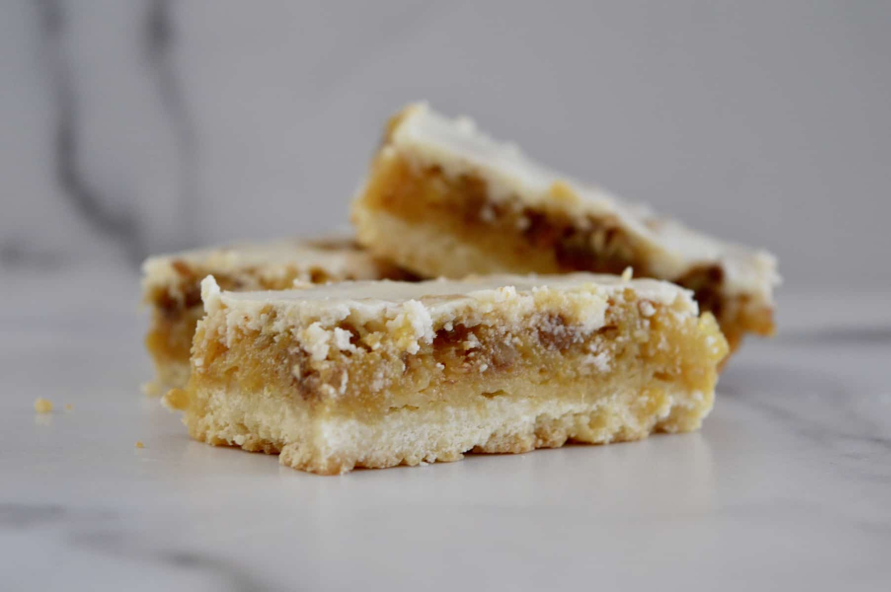 pineapple bars on a counter.